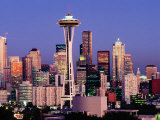 Skyline from Quenn Anne Hill with the Needle, Seattle, Washington Fotografisk tryk af John Elk III