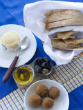 Typical Portuguese Meal Condiments: Bread, Olives, Cheese, Oil, and Nibbles, Lisbon, Portugal Photographic Print by Greg Elms