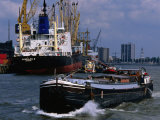 Ships in Rotterdam Harbour, Rotterdam, South Holland, Netherlands Photographic Print by John Elk III
