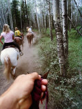 Family on Horseback Ride, Jasper National Park, Alberta, Canada Photographic Print by Philip & Karen Smith