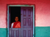 Young Maya Woman in Doorway of Home Zinacantan, Chiapas, Mexico Photographic Print by Jeffrey Becom