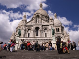 People on the Steps in Front of Basilique de Sacre Coeur in Montmatre, Paris, Ile-De-France, France Photographic Print by Glenn Beanland