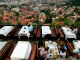 Diners in Park Princeva Restaurant, Muslim-Croat Federation, Bosnia-Hercegovina Photographic Print by Doug McKinlay