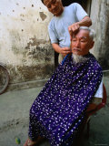 Mobile Barber in Northern Vietnam Makes His Rounds by Bicycle, My Duc, Ha Tay, Vietnam Photographic Print by Stu Smucker