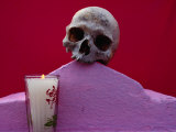 Detail of Tomb with Skull and Candle at Muna, Yucatan, Mexico Photographic Print by Jeffrey Becom