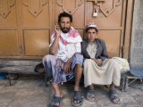 Yemenite Man and Boy Sitting in Doorway, San'a, Yemen Photographic Print by Holger Leue