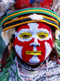 Sing Sing Group Member with Face Paint, Mt. Hagen Cultural Show, Papua New Guinea Photographic Print by John Banagan