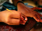 Detail of Girl's Hands Carving Lacquerware, Bagan, Mandalay, Myanmar Photographic Print by Anthony Plummer