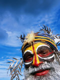 Man with Painted Face at Enga Cultural Show, Wabag, Enga, Papua New Guinea Photographic Print by John Banagan