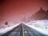 Road with Falling Snow, Arches National Park, Utah Photographic Print by Thomas Winz
