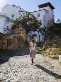 Walking Cobbled Streets of Santa Cruz, Lisbon, Portugal Photographic Print by Greg Elms