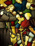 Detail of a Medieval Stained Glass Window at the Musee National du Moyen Age, Paris, France Photographic Print by Glenn Beanland
