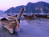 Longtail Boats on Ao Ton Sai Beach at Low Tide, Ko Phi-Phi Don, Krabi, Thailand Photographic Print by Dominic Bonuccelli
