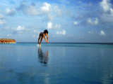 Girl Diving into Pool, Mafushivaru, Ari Atoll, Alifu, Maldives Photographic Print by Felix Hug