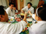 Group of Workers Eating Mongolian Hot Pot, Beijing, China Photographic Print by Greg Elms