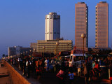 Evening Crowds on Galle Face Green with World Trade Centre in Background, Colombo, Sri Lanka Photographic Print by Richard I'Anson