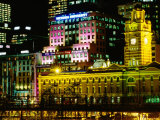 Flinders Street Station Illuminated at Night, Melbourne, Australia Photographic Print by Holger Leue