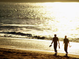 Walkers along Sunlit Beach, San Francisco, California Photographic Print by Mark Newman