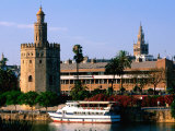 Boat on River in Front of Torre del Oro, Sevilla, Andalucia, Spain Photographic Print by John Elk III