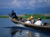 Passengers Riding High in a Traditional Boat on Lake Inle, Myanmar Photographic Print by Glenn Beanland