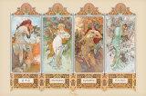 Die vier Jahreszeiten|The Four Seasons Poster von Alphonse Mucha