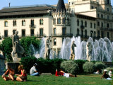 People Relaxing in Plaza de Catalunya, Barcelona, Catalonia, Spain Photographic Print by John Elk III