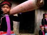 Ethnic Dao Tien Girl Carrying Banana Stalk for Pigs, Tam Duong, Lao Cai, Vietnam Photographic Print by Stu Smucker