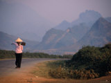 Farmer Makes Her Way to Field in Morning, Shouldering Hoe, Tam Duong, Lao Cai, Vietnam Photographic Print by Stu Smucker
