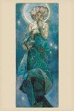 De maan Poster van Alphonse Mucha