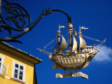 Golden Ship Hanging Sign, Old Town, Gyor, Gyor-Moson-Sopron, Hungary Photographic Print by Margie Politzer
