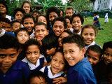 Group of Schoolchildren Smiling, Upolu, Samoa Fotografie-Druck von Peter Hendrie