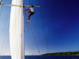 Man Climbing Mast of Yacht, Port Vila, Shefa, Vanuatu Photographic Print by Peter Hendrie