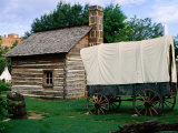 Wagon and Log Kitchen in Rural Complex, Old City Park, Dallas, Texas Photographic Print by Witold Skrypczak