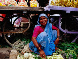 Woman Selling Vegetables at Gulmandi Road Bazaar, Aurangabad, Maharashtra, India Photographic Print by Richard I'Anson