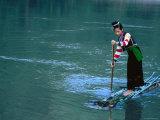 Ethnic Cong Woman Poles Bamboo Raft, Muong Tei, Lai Chau, Vietnam Photographic Print by Stu Smucker