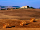Field with Round Hay Bales, Val d'Orcia Valley, Tuscany, Italy Photographic Print by John Elk III