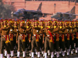 Soldiers Marching on Parade with Fighter Planes in Background, Delhi, India Photographic Print by Michael Coyne