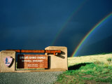 Rainbows over Park Entrance Sign, Great Sand Dunes National Park, Colorado Photographic Print by Holger Leue