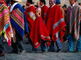 Young Boy and Several Men in Ponchos in the Corpus Christi Procession, Cuzco, Peru Photographic Print by Richard I'Anson