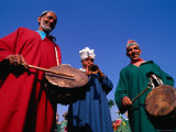 Three Musicians with Drums and a Trumpet, Delhi, India Photographic Print by Michael Coyne