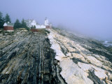 Pemaquid Point Lighthouse in Distance, Fog, Maine Photographic Print by John Elk III