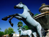 Bronze Horse Fountain in Scottsdale, Phoenix, Arizona Photographic Print by David Tomlinson