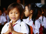 Local School Children Assemble Before School, Kampot, Cambodia Photographic Print by Daniel Boag