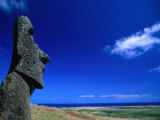 Traditional Moai Carved Form Soft Volcanic Rock at Rano Raraku, Easter Island, Valparaiso, Chile Photographic Print by Brent Winebrenner