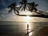Sunset Silhouette on Turtle Beach, Mullins Bay, St Peter Photographic Print by Holger Leue