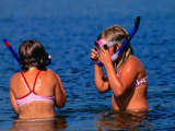 Young Girls with Snorkel and Masks in Water, Vejbystrand, Skane, Sweden Photographic Print by Anders Blomqvist