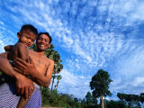 Father with Son on Their Farm Near Angkor Wat, Siem Reap, Siem Reap, Cambodia Photographic Print by Stu Smucker