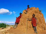 Three Young Maasai Goat Herds on a Termite Mound, Longido, Arusha, Tanzania Fotografie-Druck von Ariadne Van Zandbergen