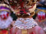Detail of Sing Sing Jewellery and Headdress, Mt. Hagen Cultural Show, Papua New Guinea Photographic Print by John Banagan