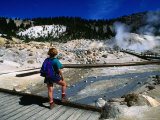 Visitor on Boardwalk Looking at Fumaroles, Bumpass Hell, Lassen Volcanic National Park, California Photographic Print by John Elk III